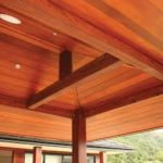 Timber lining following the internal pitched roof