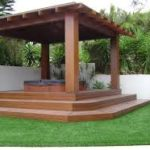Corner gazebo and hot tub