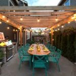Pergola with festoon lighting
